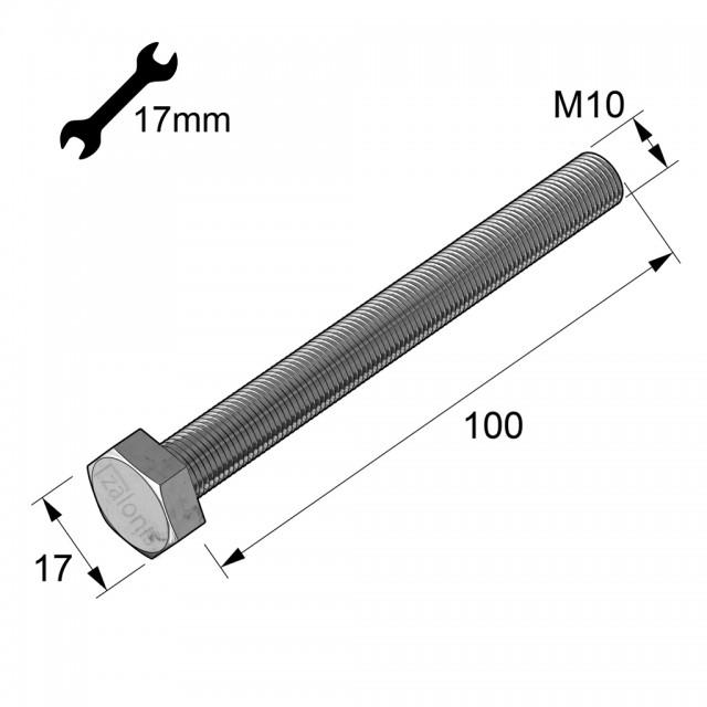 HEXAGON HEAD STEEL BOLT M10x100